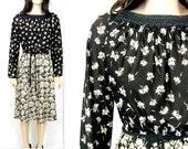 80's Dress / 70's Dress / Vintage Dress Vintage Secretary Dress 80's Floral Dress Sexy Dress Black and White Dress Midi Dress Boho Dress