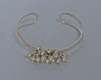 Lovely 925 Italian Sterling Silver Cuff Bracelet Dangle Style