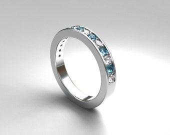 Aquamarine and diamond ring, palladium, aquamarine wedding band, eternity ring, Blue wedding,diamond half eternity, light blue, diamond ring