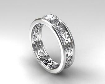 0.31ct Diamond Engagement ring, filigree, diamond wedding ring, diamond wedding band, white gold, yellow gold, lace ring, diamond ring
