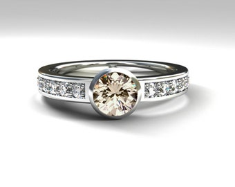 Morganite engagement ring, bezel, diamond ring, white gold,  gold ring, peach morganite, diamond engagement, solitaire, salmon, wedding