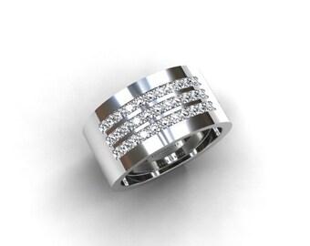 1000mm wide diamond wedding ring white gold yellow gold rose gold half eternity ring men diamond ring men wedding band custom modern - Wide Band Wedding Rings