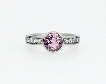 Light Pink tourmaline engagement ring, white gold, rose gold, yellow gold, pink tourmaline solitaire, bezel ring, wedding, diamond solitaire