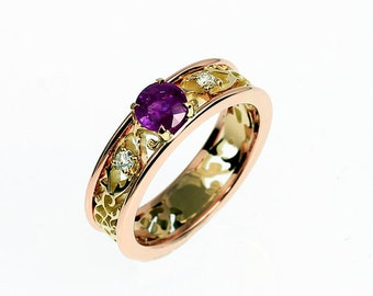 Amethyst engagement ring, filigree, white sapphire ring, yellow gold, rose gold engagement, two tone, purple, wedding ring