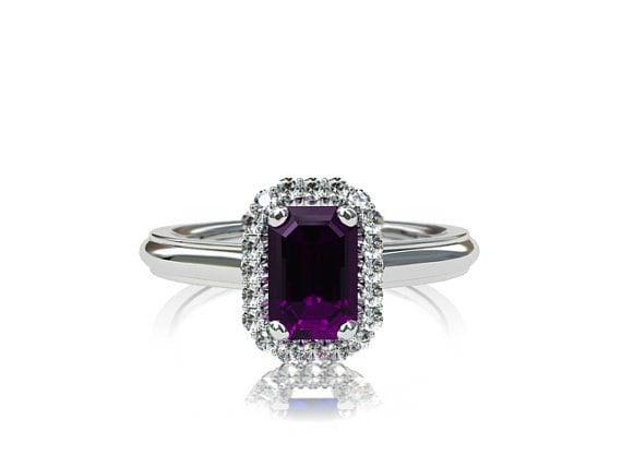 Emerald Cut Amethyst Halo Ring White Gold Engagement Diamond