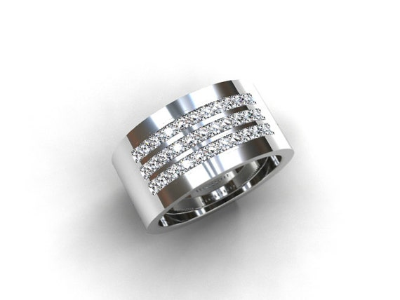 1000mm Wide Diamond Wedding Ring White Gold Yellow Gold
