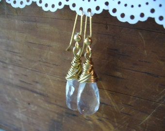 Beautiful Clear Glass Teardrop Wire Wrapped Earrings, Womens Jewelry, Gold Wire Earrings, Clear Beads, Birthday Gifts, Long Dangle Earrings