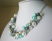 Robin's Egg Blue + Gray Pearl Cluster Necklace - Handmade (customizable!) Women's Necklace - Full Cluster