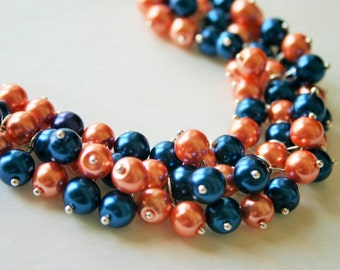 Orange and Blue Pearl Cluster Necklace, Gameday virginia detroit chicago denver Football Baseball Florida Illinois pearl Jewelry