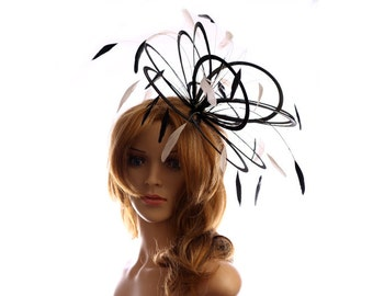Black  and White Feather Fascinator Hat - wedding, ladies day - choose any colour feathers & satin