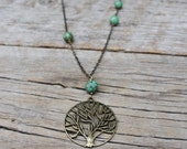 Brass Tree Pendant and Turquoise Magnesite Necklace, Tree Necklace