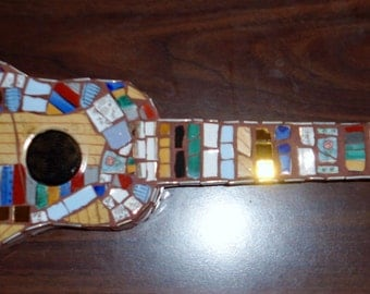 MOSAIC ART / Ukulele / Guitar / Piece Made Using Fine Porcelain & Gold Inlaid China / Direct From Artist
