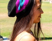 Crochet black, neon purple, and electric blue stripe women's slouchy beanie, ready to ship