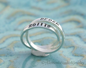 Double Mother's Ring, Sterling Silver Interlocking Rings, Rolling Rings, Personalized Rings