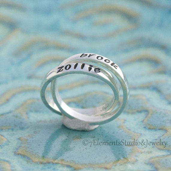 Mother's Ring, Personalized Ring, Double Mother's Ring, Sterling Name Bands, Nested Rings, Interlocking Rings, Kids' Names Rings