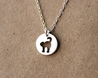 Handmade Silver Cat Necklace - Sterling Silver Necklace - PMC - Metal Clay