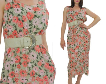 90s maxi dress Floral Grunge garden Party High waisted 1990s Boho sleeveless Bohemian Vintage Scoop neck retro Coral Medium