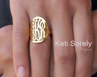 Large Monogram Ring in Sterling Silver or Solid Gold, Personalized Initials Ring, Yellow Gold, Rose Gold, White Gold, Script Monogram Ring