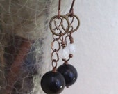 Antique Copper Earrings- Gold-sheen obsidian and moonstone