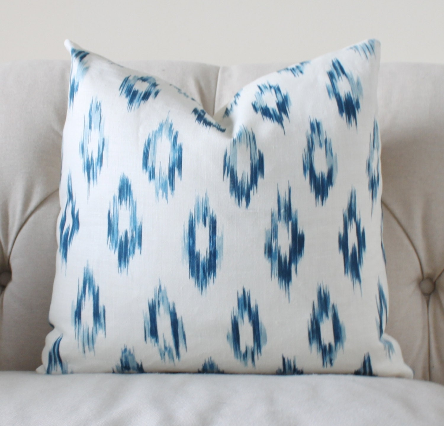 Blue Ikat Pillow Cover Blue Linen Throw Pillow Schumacher