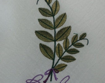 Flour sack kitchen towel. Embroidered, personalized. Basil herb