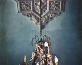 Hemingway's Chandelier - 8x12 Photography print celiling light blue dark blue victorian home decor wall art gift spooky room glow photo cool - FourTreesPhotography