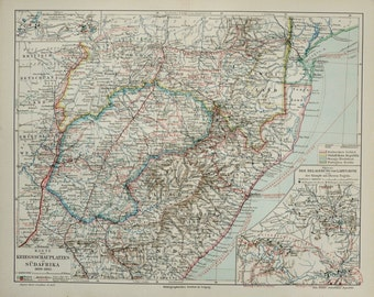1897 Antique map of SOUTHERN AFRICA: South Africa, Bostwana, Namibia, Lesotho, Swaziland. 119 years old map.