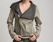 brown khaki womens jacket, brown coat, Fall winter jacket, Waist length jacket, Zipper jacket, women top