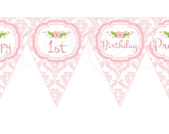 Pretty in Pink Baby Baptism or First Birthday Elegant Damask Banner - Printable File