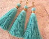 """Aqua Teal Long Silk Tassels, Aqua Jewelry Making Tassels, Handmade Tassels for Mala Necklace, 3 Teal Tassels, 3"""" Blue Tassels Wholesale"""