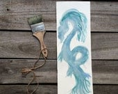 Water dragon chinese painting original nursery drawing large wall art in light blue ink 16x5 in / 42x14.5cm