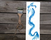 Sky Blue Japanese Dragon Drawing in ink, original modern painting, living room wall decor