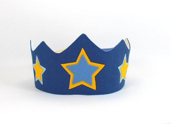 Boy Birthday Crown -- Perfect for Birthdays and Dress-Up -- Prince Crown -- Navy Blue Organic Canvas Crown with Wool Felt Stars