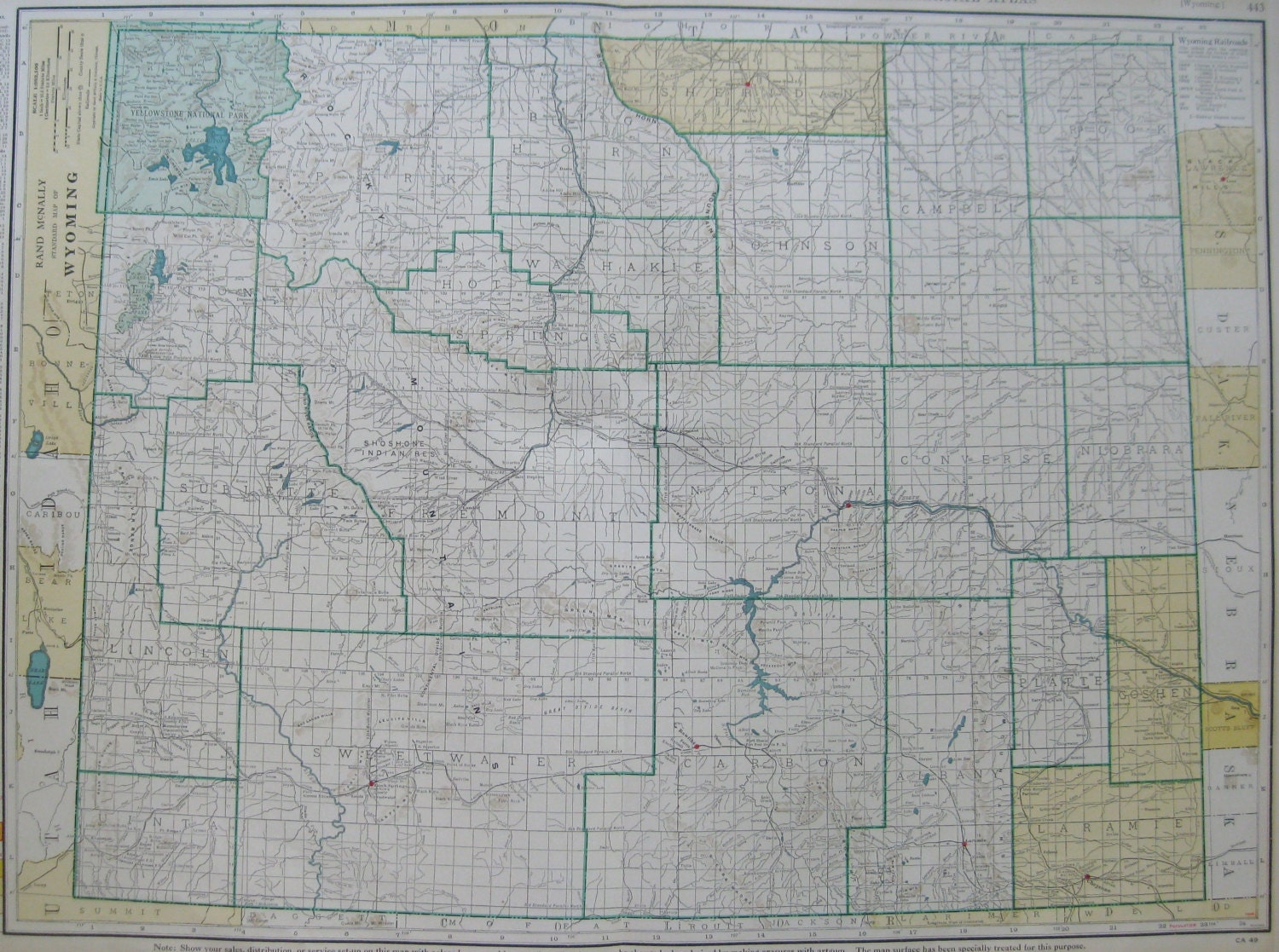 1943 Rare Size Antique WYOMING Map Vintage Map Of Wyoming