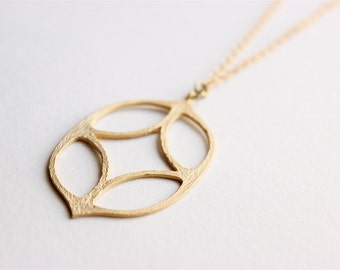 Gold Necklace - Brushed Gold Pendant Necklace - Long Necklace - Large Brushed Matte Gold Pendant on Matte Gold Chain