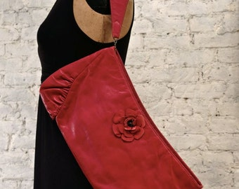 30s Red Leather Clutch with Suede Flower and Wrist Strap
