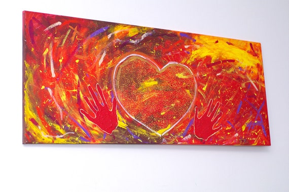 LOVE PAINTING Red Abstract heart art on canvas Modern Original Unique Home decor Large Wall art - Gift for him - I love you painting