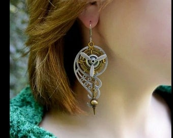 Steampunk Earrings with Propeller, Compass, Clock Pendulum, Filigree Gear Wings By AlchemyDivineCouture