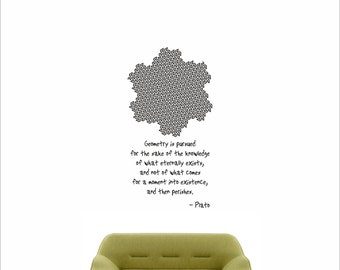 Science art mathematics- Plato quote and Gosper Curve vinyl wall decal / sticker for university and school classroom (ID: 121044)