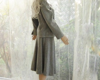 Dressmaker gray wool suit skirt and jacket/blazer