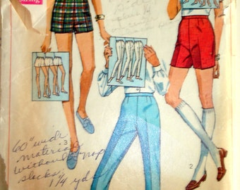 "Vintage 1968 Simplicity 7688 Pants Jamaica and Short Shorts Sewing Pattern Waist 27"" Hip 38"""