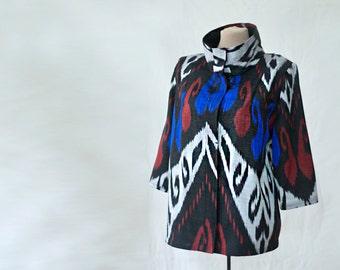 silk ikat jacket, silk car coat, black with blue and red, made to order, Uzbek silk jacket