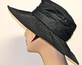 PACKABLE TRAVEL HAT, Black  Dupioni Silk Fabric Womens Hat, Wide  Brim Hat