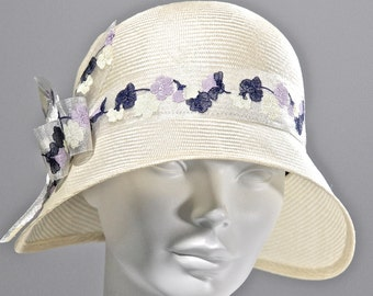 Ivory or Lavendar Parasisal Straw Women's Hat,  Cloche Hat, Vintage Inspired,  Kentucky Derby Hat, Wedding Hat, Downton Abby