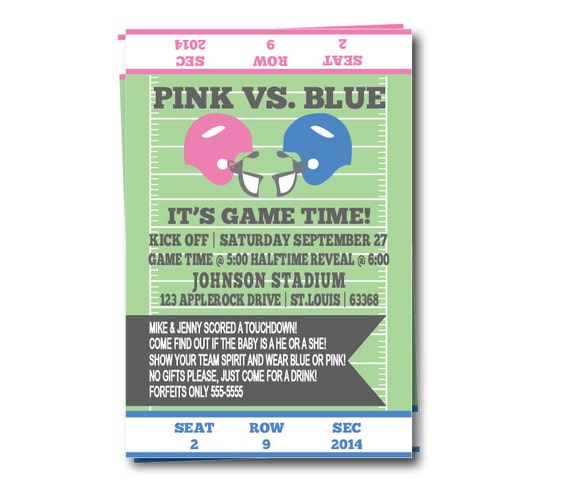 Gender Reveal Party Invitation, Football Themed Baby Reveal Party Invite