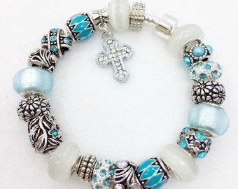 Crystal Cross European Style Charm Bracelet