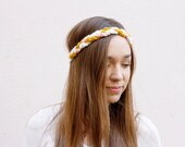 Crocheted Braided Headband - Skinny - Gold, Peach, & Ivory