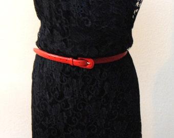 Vintage 1980s Black Lace Dress High Neckline Size Small/Medium