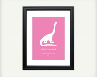 Personalized Dinosaur Print - The Leaf Eaters - 8.5x11 - also available in 13x19, 11x14, and 5.5x8.5 - see listing details