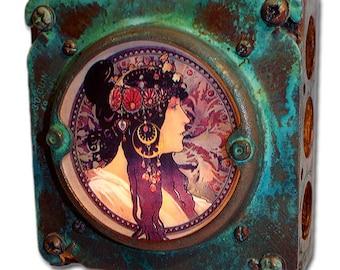 Art Nouveau Alphonse Mucha Night Light of Donna Orechini Industrial Chic